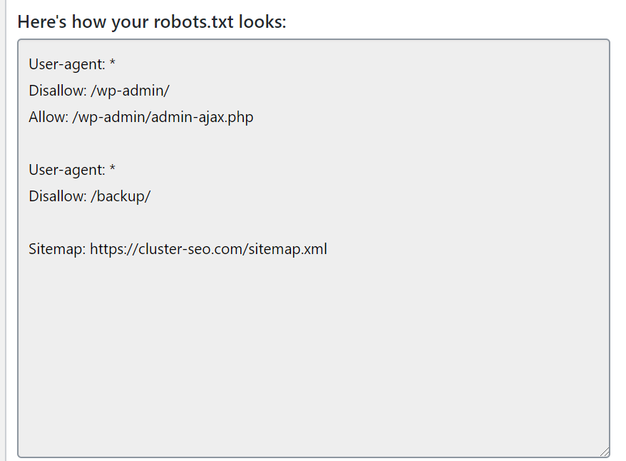 robots.txtプレビュー