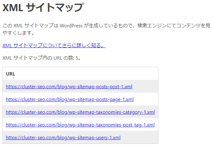 WordPress標準のサイトマップ